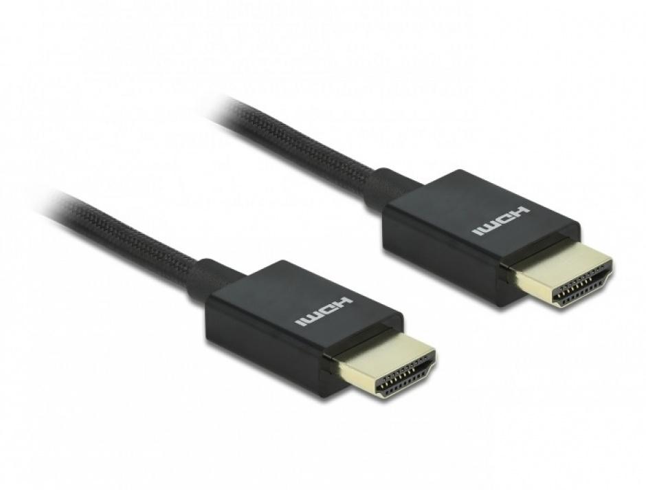 Imagine Cablu HDMI coaxial 48 Gbps 8K@60Hz HDR + eARC T-T 2m Negru, Delock 85385