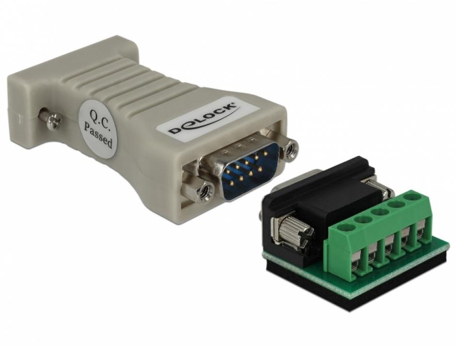 Imagine Convertor Serial RS-232 DB9 la Serial RS-422/485 DB9 M-T cu protectie ESD 15 kV, Delock 62920