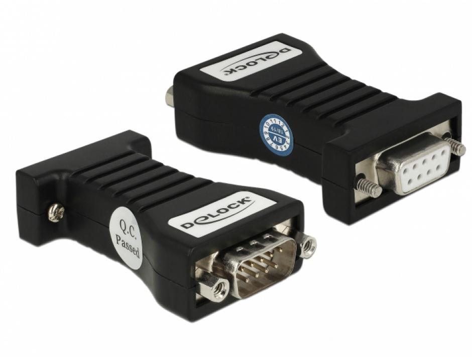 Imagine Isolator Serial RS-232 DB9 la Serial RS-232 DB9 M-T 3kV, Delock 62921