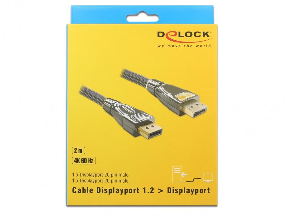 Imagine Cablu DisplayPort v1.2 4K Ultra HD 60Hz Premium T-T 2m, Delock 82771