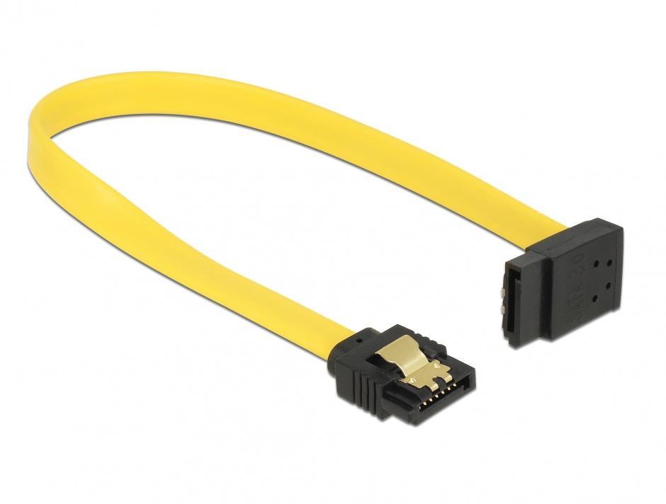 Imagine Cablu SATA III 6 Gb/s unghi drept - sus galben 20cm, Delock 82799
