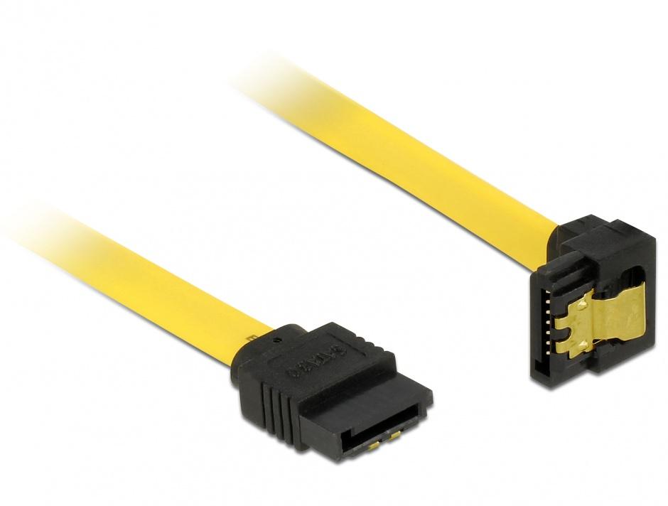 Imagine Cablu SATA III 6 Gb/s drept- jos unghi cu fixare 20cm, Delock 82800