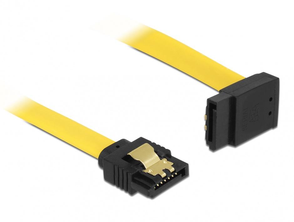 Imagine Cablu SATA III 6 Gb/s unghi sus-drept clips metalic 30cm galben, Delock 82804