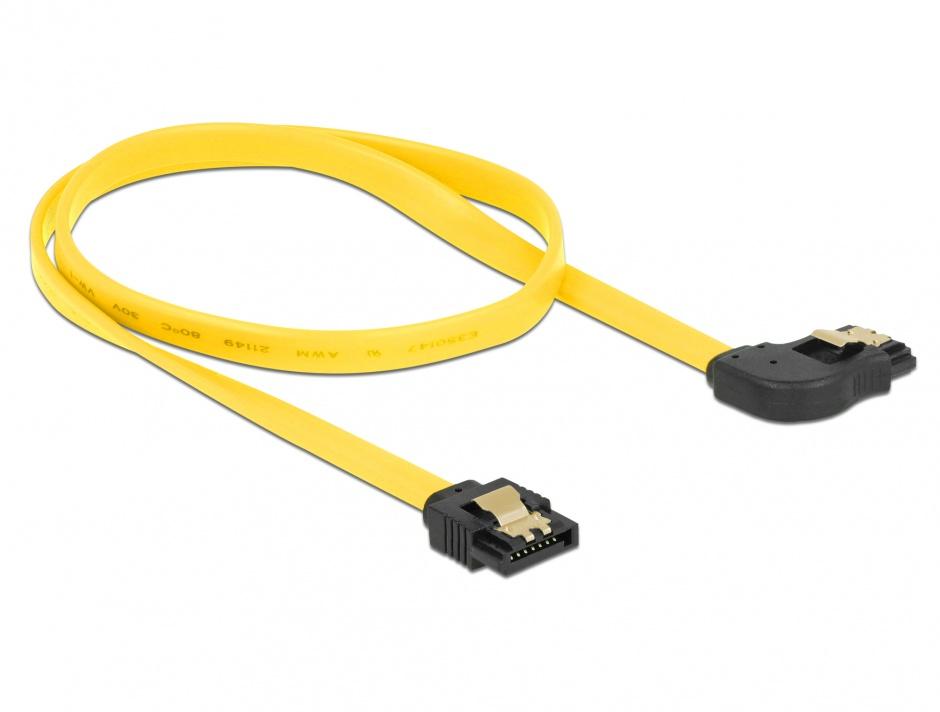 Imagine Cablu SATA III 6 Gb/s unghi dreapta - drept cu fixare 50cm, Delock 82829
