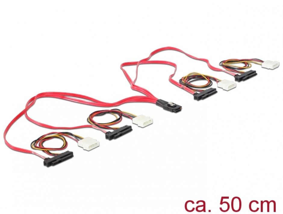 Imagine Cablu mini SAS SFF-8087 la 4 x SAS SFF-8482 + alimentare 50cm, Delock 83059