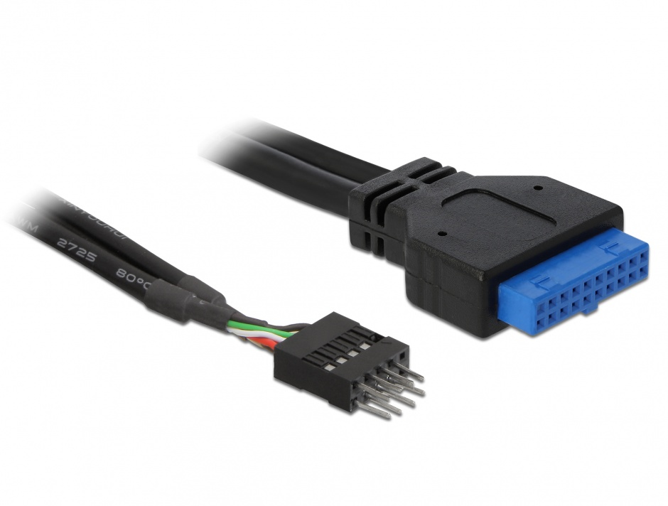 Imagine Cablu USB 3.0 pin header mama la USB 2.0 pin header tata, Delock 83095
