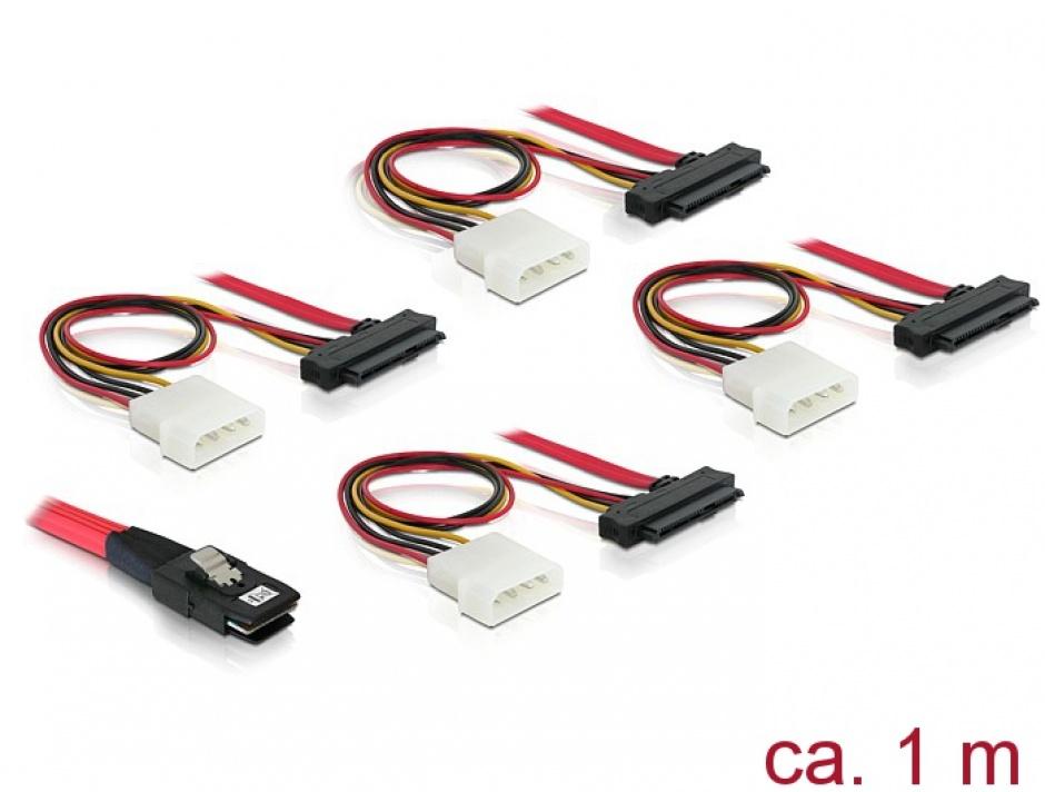 Imagine Cablu mini SAS 36 pini SFF 8087 la 4 x SAS 29 pini SFF8482 1m, Delock 83146
