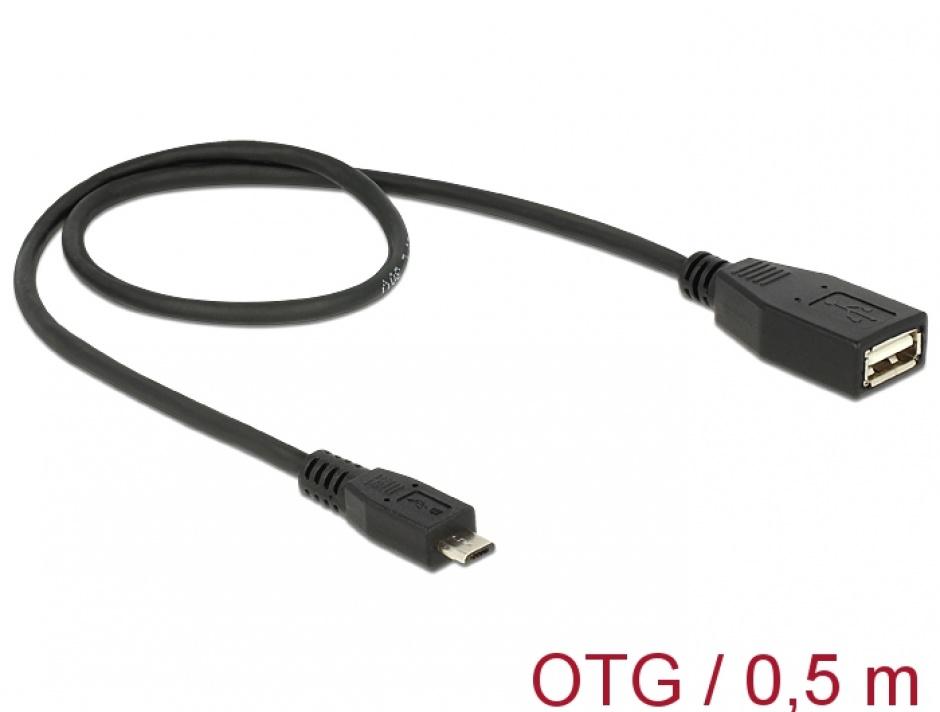 Imagine Cablu USB micro B la USB A T-M OTG 50 cm, Delock 83183