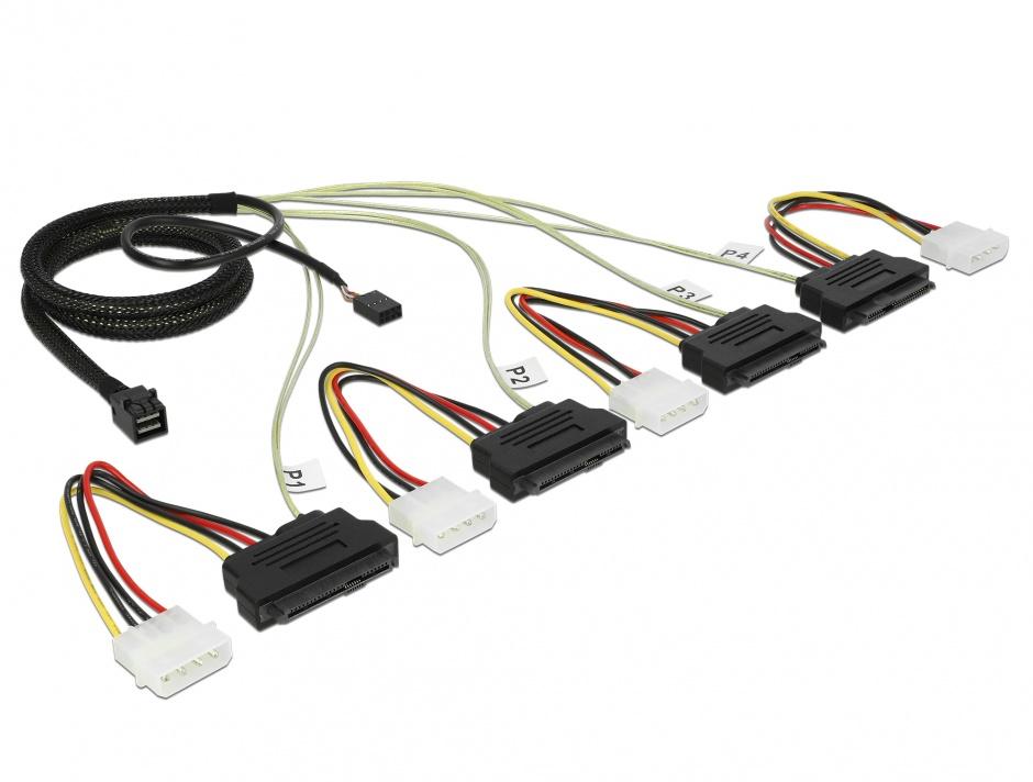 Imagine Cablu Mini SAS HD SFF-8643 la 4 x SAS SFF-8482 + power + Sideband 1m, Delock 83391