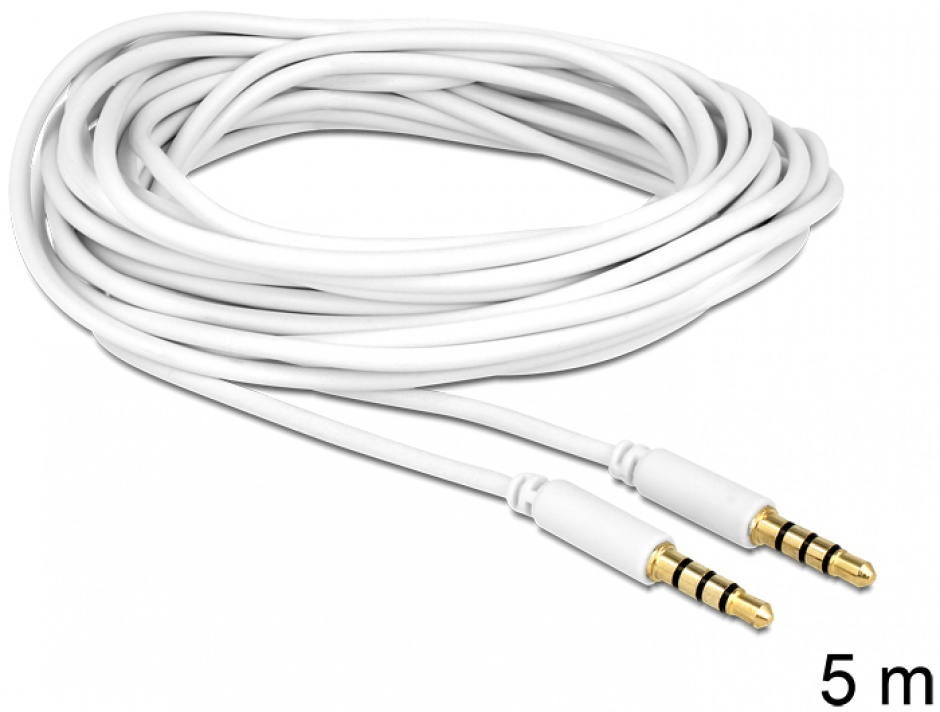 Imagine Cablu stereo jack 3.5mm 4 pini Alb T-T 5m, Delock 83443