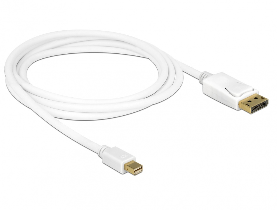 Imagine Cablu Mini Displayport la Displayport 4K T-T Alb 2m, Delock 83482
