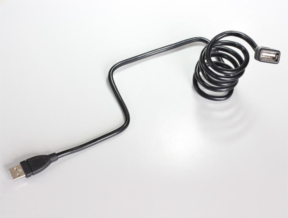 Imagine Cablu prelungitor USB 2.0-A ShapeCable 1m T-M Negru, Delock 83500