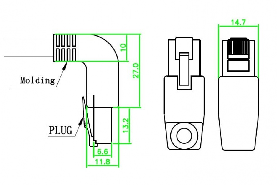 Imagine Cablu retea Cat.6 SSTP unghi 2m, Delock 83522