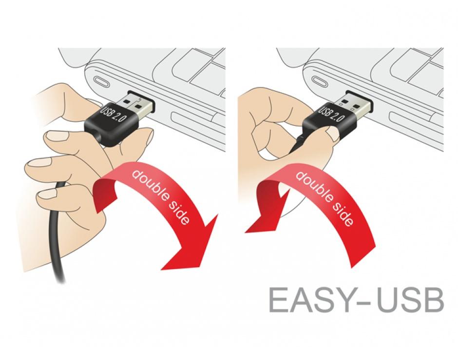 Imagine Cablu EASY-USB 2.0 tip A unghi sus/jos la USB-B T-T 5m Negru, Delock 83542