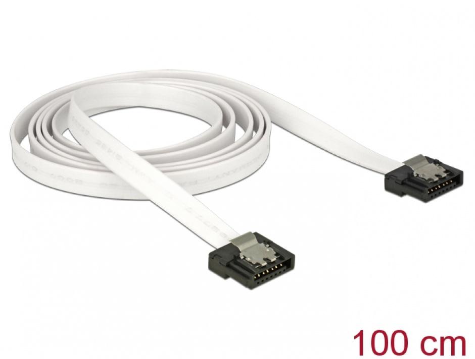 Imagine Cablu SATA III FLEXI 6 Gb/s 100 cm white metal, Delock 83556