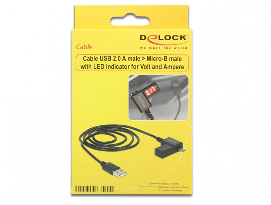 Imagine Cablu USB 2.0 la Micro-B cu indicator LED, Delock 83569