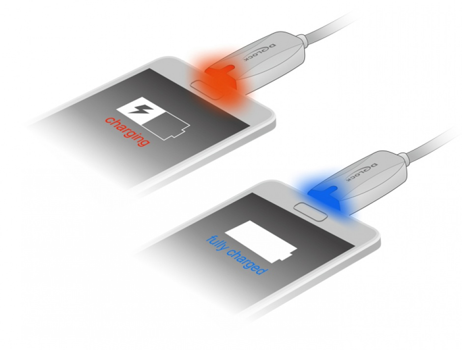 Imagine Cablu de date + incarcare USB la micro USB-B 2.0 cu LED 1m, Delock 83604