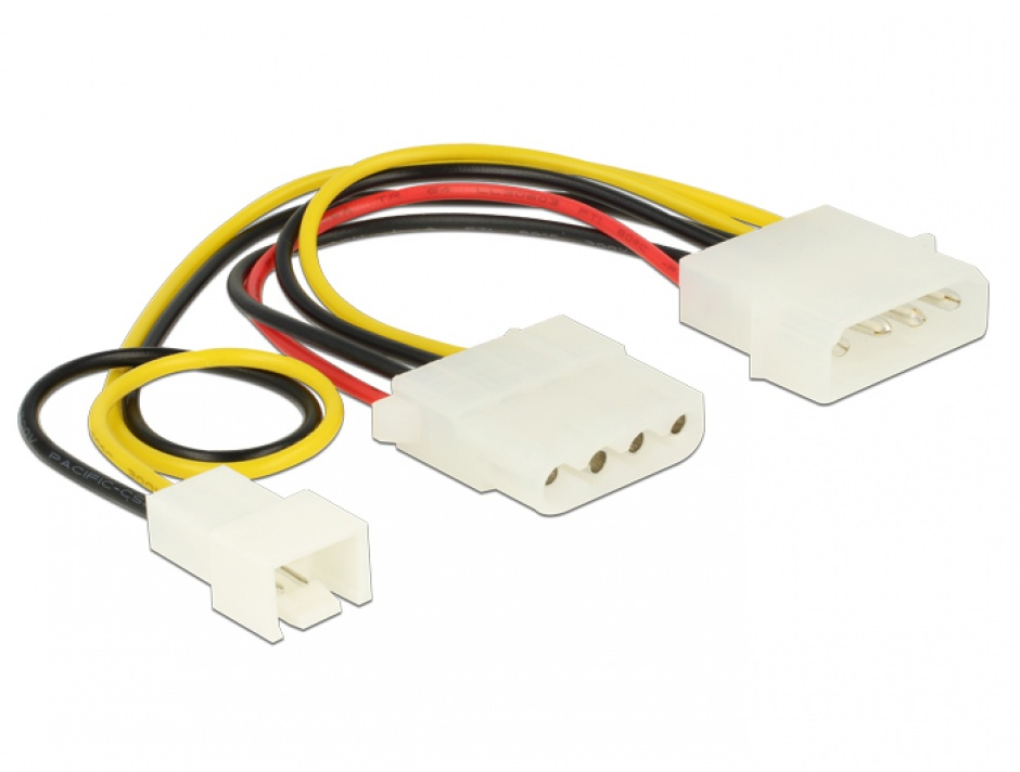 Imagine Cablu de alimentare Molex la Molex + ventilator 3 pini 14cm, Delock 83658