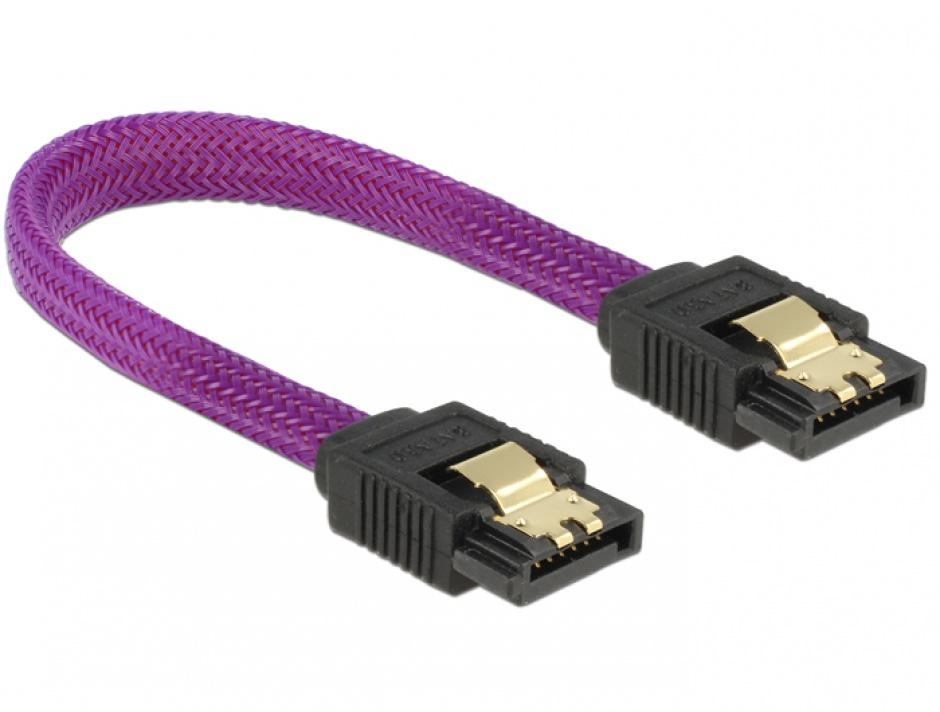 Imagine Cablu SATA III 6 Gb/s 10cm drept Premium, Delock 83688