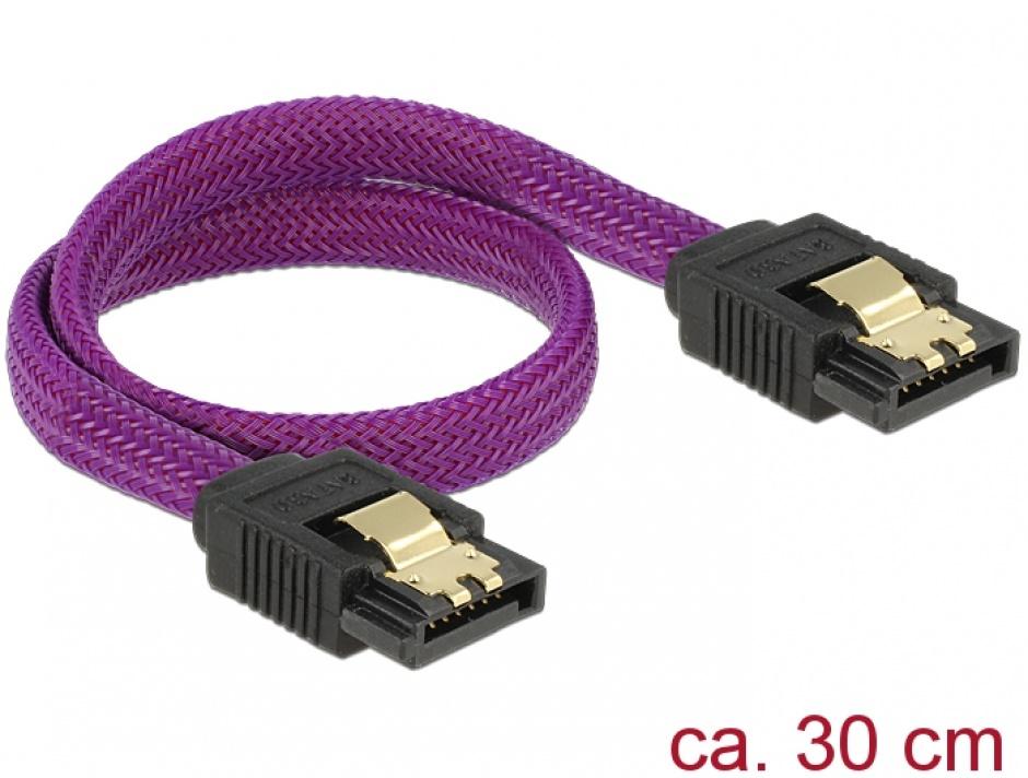Imagine Cablu SATA III 6 Gb/s 30cm drept Premium, Delock 83690