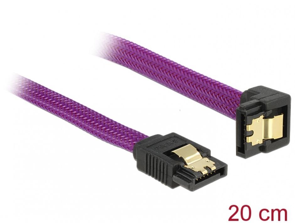 Imagine Cablu SATA III 6 Gb/s 20cm drept/unghi Premium, Delock 83694