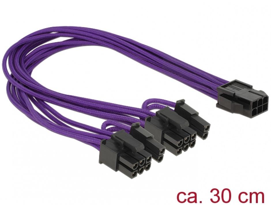 Imagine Cablu alimentare PCI Express 6 pini la 2 x 8 pini M-T, Delock 83704