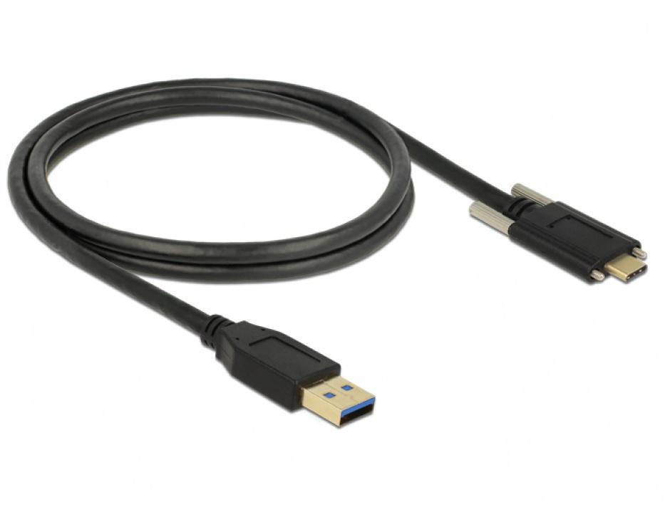 Imagine Cablu SuperSpeed USB 10 Gbps (USB 3.1 Gen 2) tip A la USB-C cu suruburi pe laterale T-T 1m Negru, De
