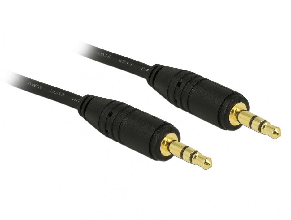Imagine Cablu stereo jack 3.5mm 3 pini Negru T-T 2m, Delock 83746