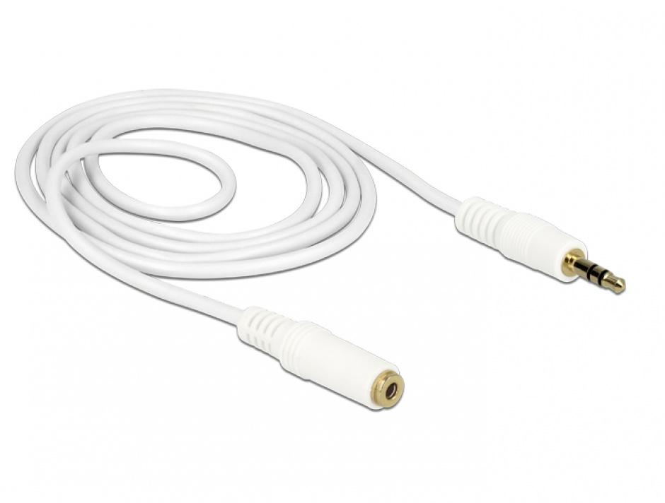 Imagine Cablu prelungitor audio jack 3.5mm 1m Alb, Delock 83765
