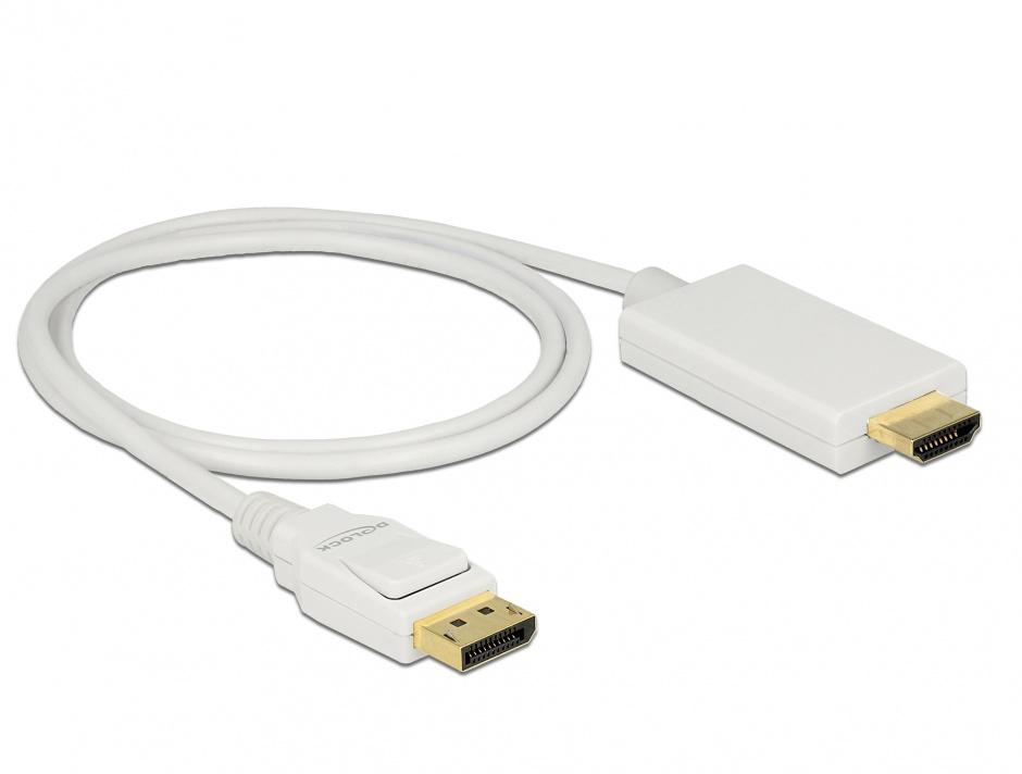 Imagine Cablu Displayport 1.2 la HDMI T-T pasiv 4K alb 1m, Delock 83817