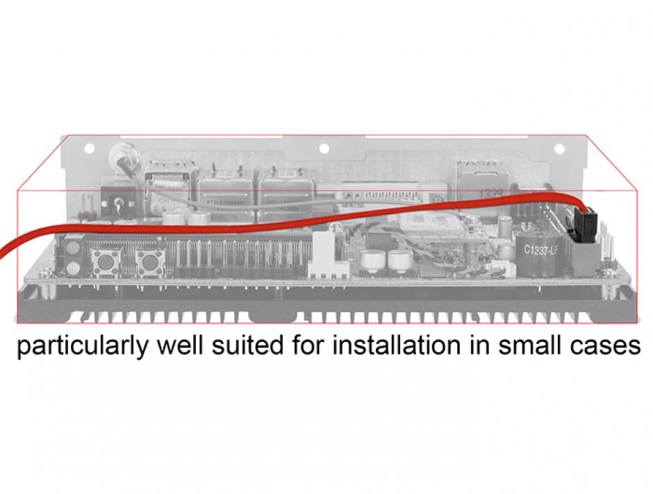 Imagine Cablu SATA III 6 Gb/s FLEXI 10cm Rosu metal, Delock 83832