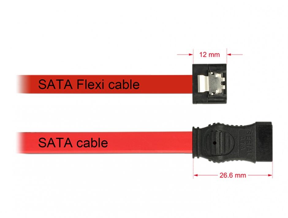 Imagine Cablu SATA III 6 Gb/s FLEXI 20cm Rosu metal, Delock 83833
