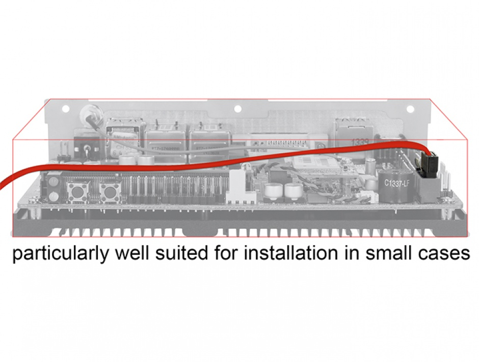 Imagine Cablu SATA III FLEXI 6 Gb/s 100 cm Rosu metal, Delock 83837