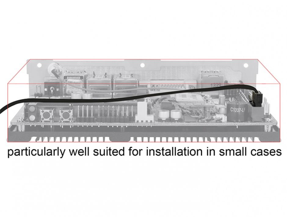 Imagine Cablu SATA III 6 Gb/s FLEXI 10cm black metal, Delock 83838