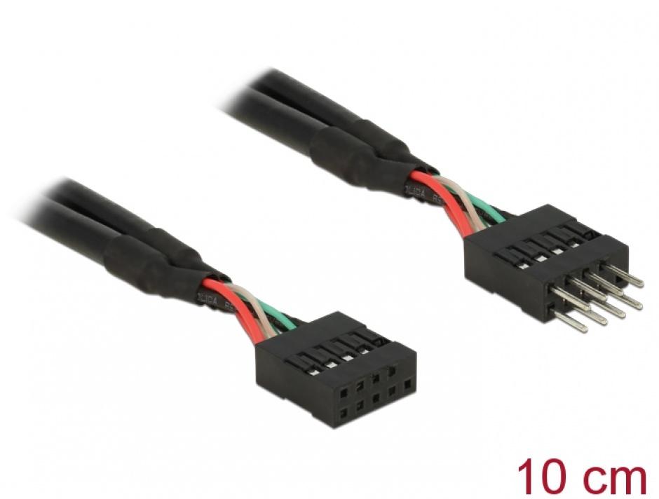 Imagine Cablu prelungitor pin header USB 2.0 10 pini T-M 10cm, Delock 83872