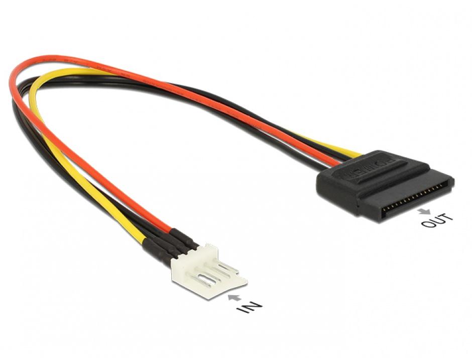 Imagine Cablu de alimentare SATA 15 pini la Floppy 4 pini 24cm M-T, Delock 83877