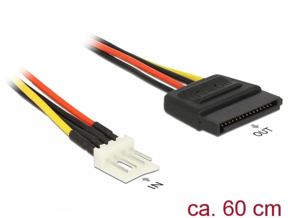 Imagine Cablu de alimentare SATA 15 pini la Floppy 4 pini 60cm M-T, Delock 83879