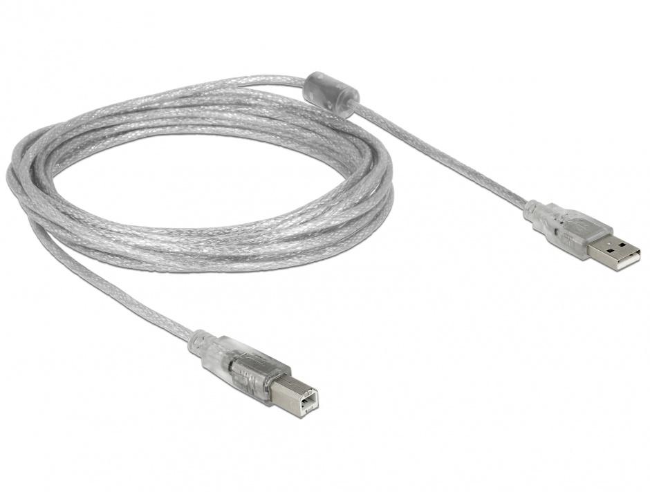 Imagine Cablu USB 2.0 tip A-B cu ferita 5m transparent, Delock 83896