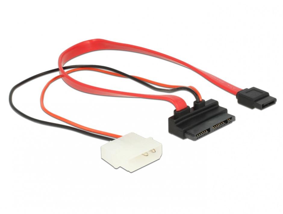 Imagine Cablu Micro SATA la SATA 7 pini + alimentare 2 pini unghi 5V 30cm, Delock 83911