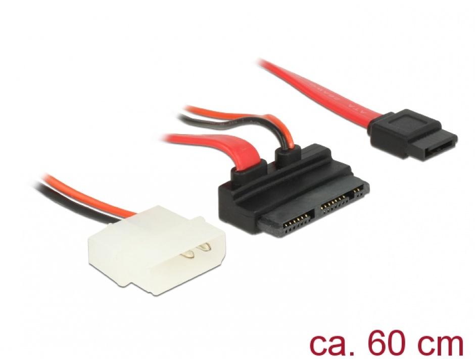 Imagine Cablu Micro SATA la SATA 7 pini + alimentare 2 pini unghi 5V 60cm, Delock 83912