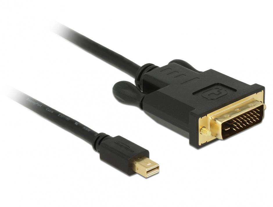 Imagine Cablu mini Displayport 1.1 la DVI 24+1 pini T-T 5m Negru, Delock 83991