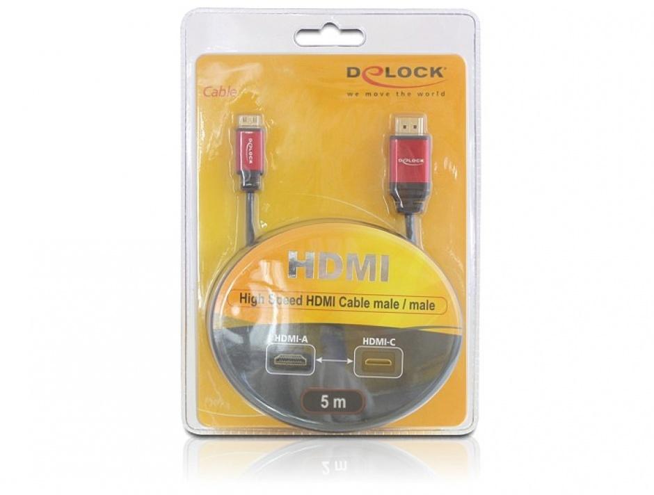Imagine Cablu HDMI la mini HDMI-C Premium 5m, Delock 84338