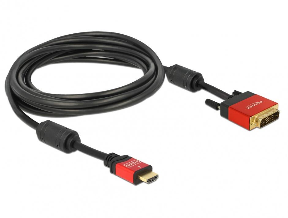 Imagine Cablu HDMI la DVI-D Single Link 18+1pini Premium T-T 5m, Delock 84344