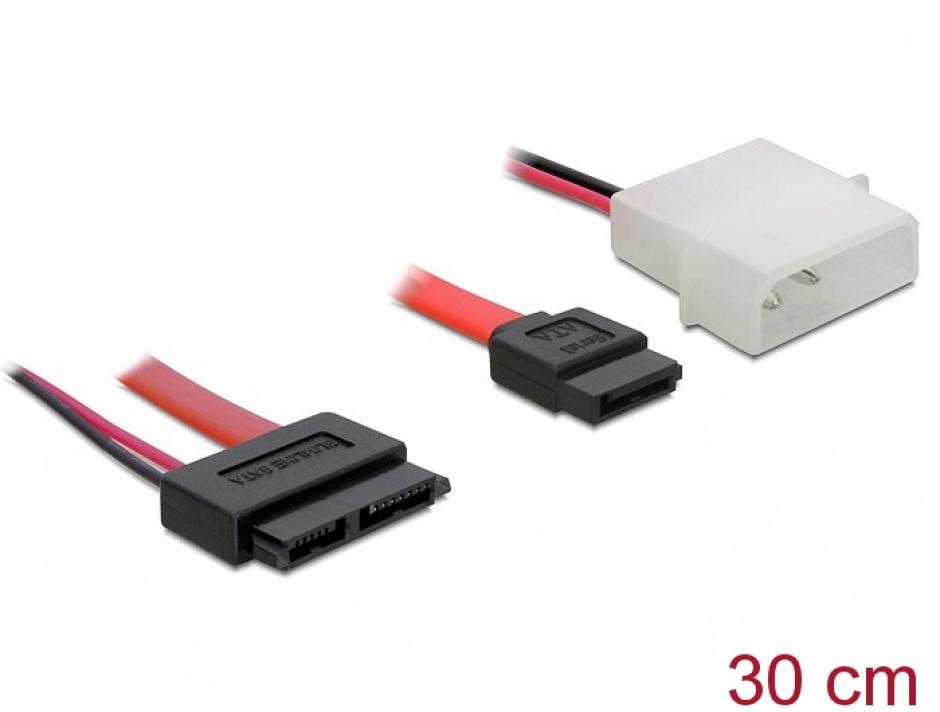 Imagine Cablu Slim SATA la SATA 7 pini + 2 pini alimentare M-T 30cm, Delock 84390