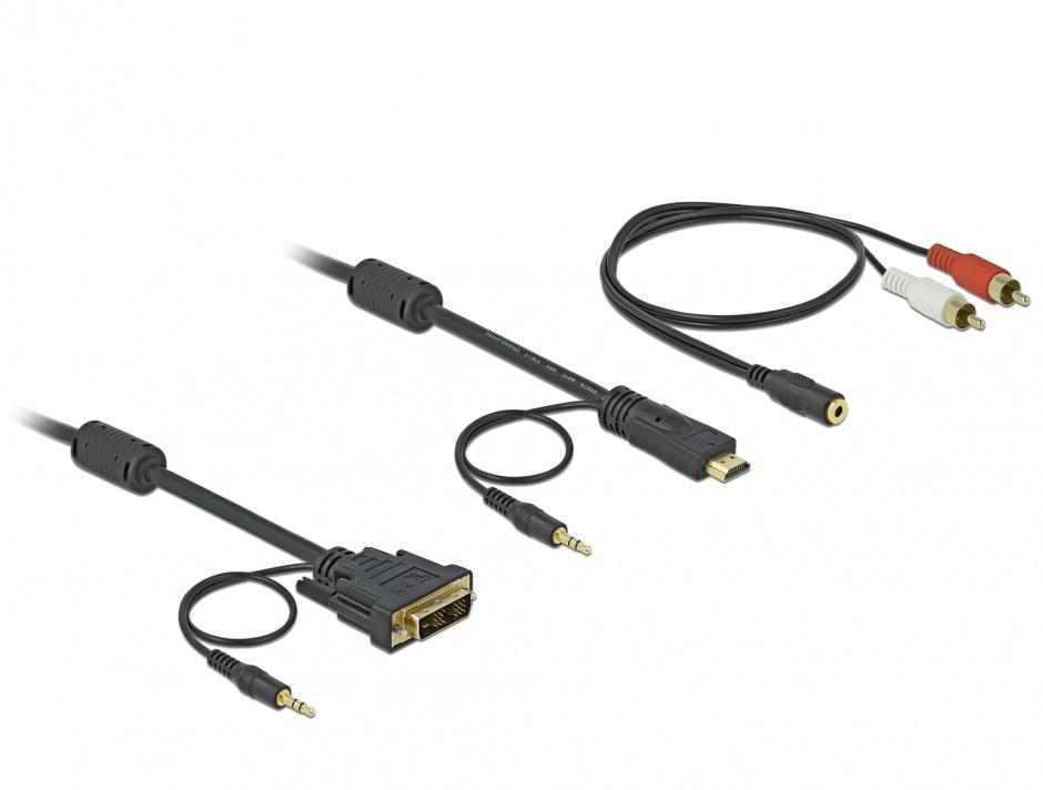 Imagine Cablu HDMI la DVI-D Single Link 18+1pini T-T cu audio 2m, Delock 84455