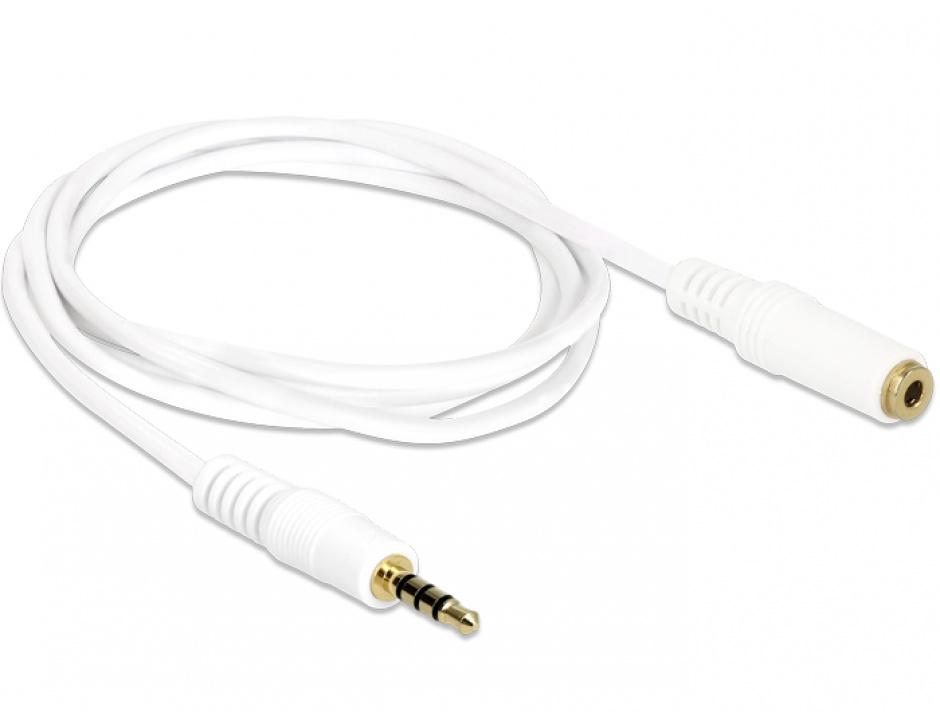 Imagine Cablu prelungitor audio jack 3.5mm 4 pini T-M 1m, Delock 84480