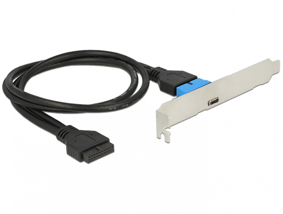 Imagine Bracket pin header USB 3.0 la 1 x USB tip C extern Low Profile, Delock 84755
