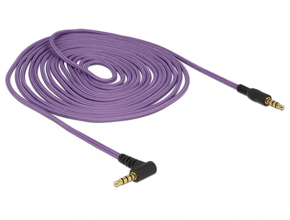 Imagine Cablu stereo jack 3.5mm 4 pini unghi Mov T-T 5m, Delock 84765
