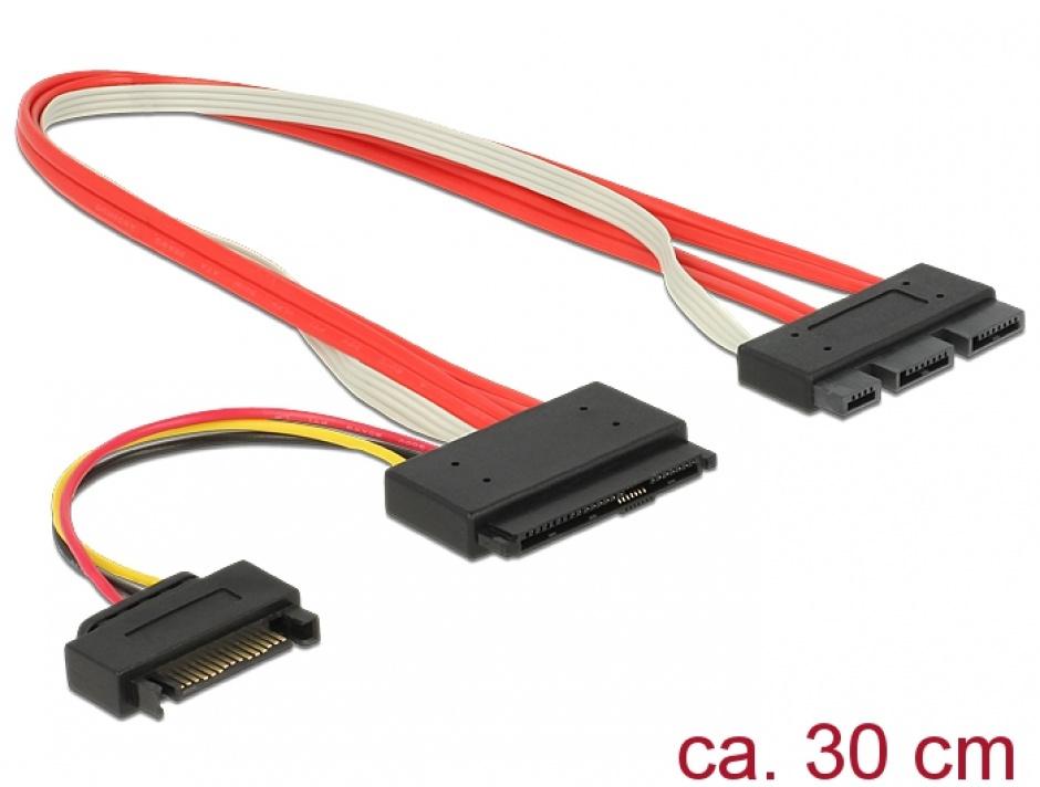Imagine Cablu SATA Express 18 pini + alimentare SATA la SATA Express 29 pini T-T 30cm, Delock 84767
