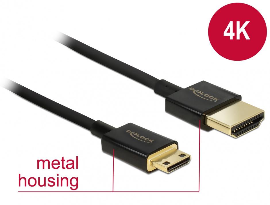 Imagine Cablu HDMI la mini HDMI-C T-T 3D 4K 1.5m Slim Premium, Delock 84777